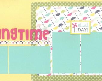 12x12 SPRINGTIME scrapbook page kit, premade scrapbook kit, 12x12 premade scrapbook page, premade scrapbook page, 12x12 scrapbook layout