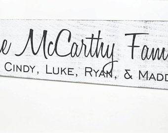 Personalized Family Name Sign Rustic Distressed Plaque 5x24