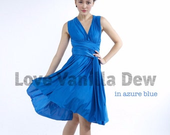 Bridesmaid Dress Infinity Dress Straight Hem Azure Blue Knee Length Wrap Convertible Dress Wedding Dress