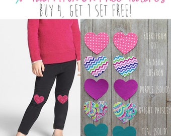 Pack of 10! Girls Knee Patches// Heart Patches // Iron on Knee Patches // DIY Knee Patch Legging // Iron on Patch Set // Knee Patch Leggings