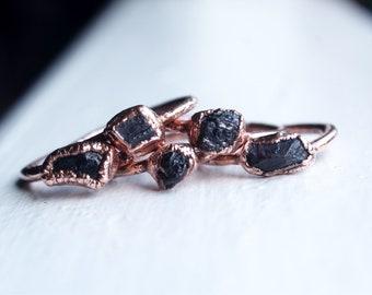 Black Tourmaline Electroformed Ring, Handmade Ring, Black Tourmaline, Protection Stone, Raw Ring