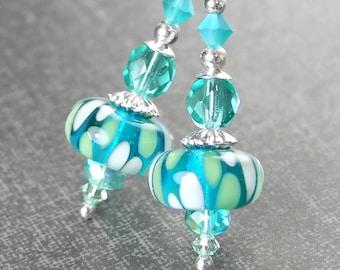 Sea Green Blue Drop Earrings Sterling Silver Leverback Earrings Seafoam Artisan Glass Earrings Teal Dangle Earrings Lampwork Jewelry