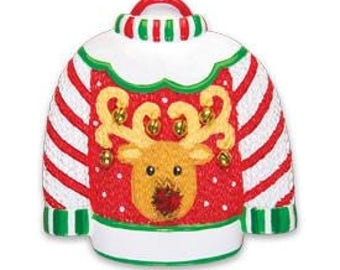 Ugly Sweater Christmas Ornament Ugly Sweater Ornament Stocking Stuffer Ugly Reindeer Sweater Personalized Christmas Ornament
