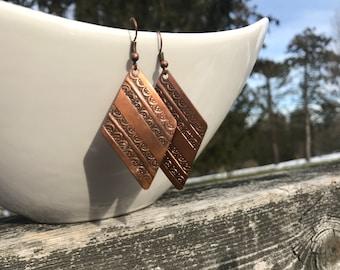 Copper earrings, Brass earrings, handmade earrings, artisan earrings, hammered earrings, antique earrings