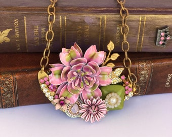 Assemblege Necklace, Statement Necklace, One of a Kind Necklace, Bridal Necklace,