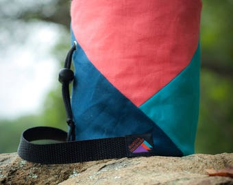 Rock Climbing Chalk Bag | Coral Triangle Design | Gift For Climber | Handmade Chalk Bag