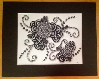 Original Zentangle drawing in black & gray