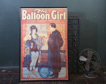 "Vintage 1930s Movie Poster ""The Balloon Girl"" A Comedy Drama of Circus Life / Art Deco Flapper Girl Circus Poster"
