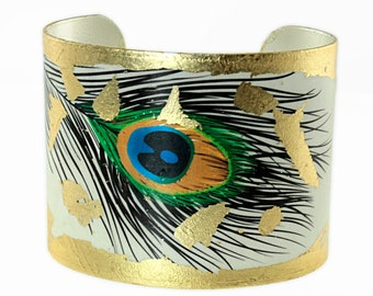 Photo Cuff, Gold Leaf Jewelry, Altered Art Jewelry, Hand Gilded Gold Leaf Peacock Feather