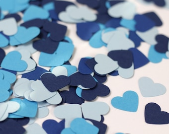 Blue Confetti - Blue Heart Confetti - Blue Baby Shower Decor - Blue Ombre Confetti