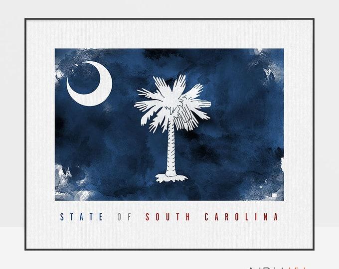 South Carolina flag print, South Carolina Wall art, American flag poster, United States flag, travel poster, home decor, ArtPrintsVicky