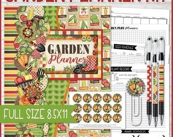 GARDEN Planner, Garden Notebook, Gardner Gift Idea, Gardening Gift, Printable Gardening Planner Inserts, Full Size 8.5x11 - Instant Download
