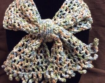 Lady's scarf, neck warmer, fashion scarf, hand crochet scarf, gift idea, short scarf, winter scarf, blue, green, tan, aspen colors, handmade