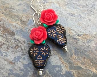 Sugar Skull Earrings with Red Rose, Skull and Rose Earrings, 2 inch