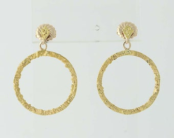Circle Drop Earrings - 14k Yellow Gold & 22k Gold Nuggets Pierced N4378