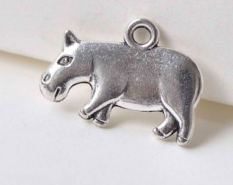 10 pcs Antique Silver Hippopotamus Hippo Charm Pendants 15x20mm A3363