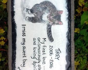 Pet Memorial Garden Stone,slate,outdoor pet memorial,,custom painted pet memorial stone, personalized,,cat, dog,pet