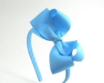 Sky Blue Bow Headband For Girls & Adults, Large Bow on Hard Headband, Back to School Headband, Girls Hair Accessories, Big Girl Headband