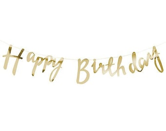 Happy Birthday Banner, Gold Paper Banner, Birthday Bunting, Birthday Banner, Happy Birthday Script Banner, Gold Foil Banner, Gold Decor