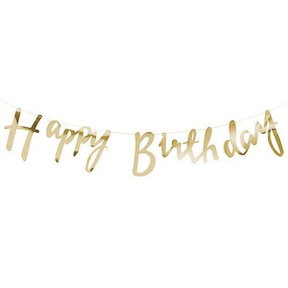 Happy Birthday Banner, Gold Paper Banner, Birthday Bunting, Birthday Banner, Happy Birthday Script Banner, Gold Foil Banner, Gold Decor