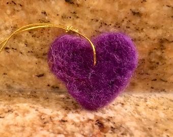 Handmade Needle-felted Miniature Heart Ornaments
