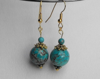 BCL.0785 pendants of genuine turquoise earrings