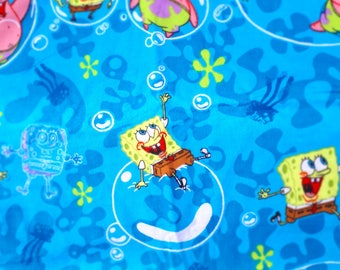 Sponge Bob, Spongebob, patrick, starfish, under the sea, bubble, flannel, soft brushed, print Pillow Cushion Cover Upcycled Eco
