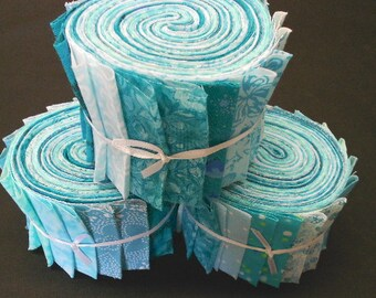 Aqua Jelly Roll Fabric Strips Turquoise Quilt Kit  by SEW FUN QUILTS