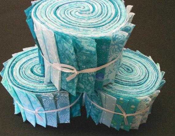 Aqua Jelly Roll Fabric Strips Turquoise Quilt Kit by SEW FUN : jelly roll fabrics for quilting - Adamdwight.com
