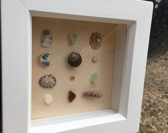 sea shells, sea glass and sea pottery box framed art.