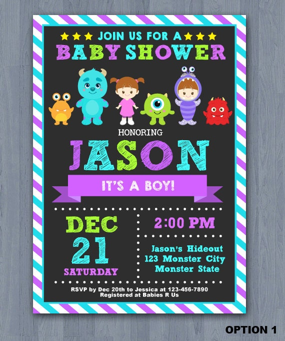 Monster inc baby shower invitation monster baby shower like this item filmwisefo Image collections