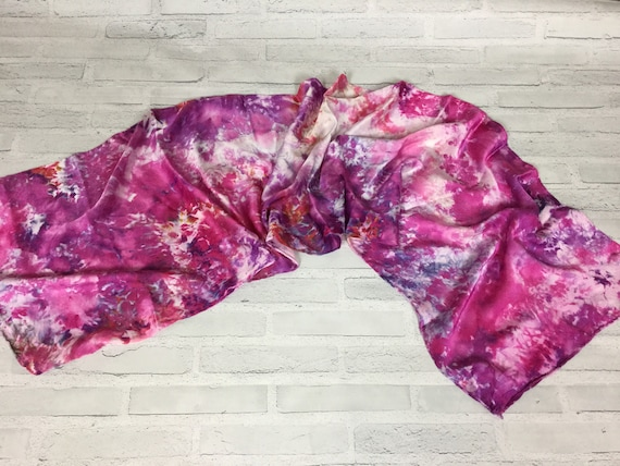 Boss Gift! 100% Silk Oblong Scarf Ice Dyed Abstract Floral Watercolor Silk Scarves Teacher Gift Sangria Red Purple Color #144