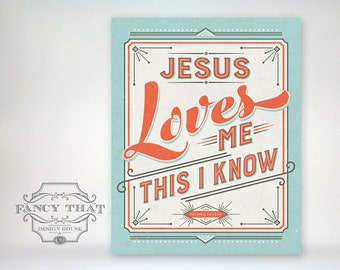 Jesus Loves Me - baby shower gift / nursery / bedroom / playroom 8x10 Art Poster Print - Robins Egg/Mint blue and dark coral
