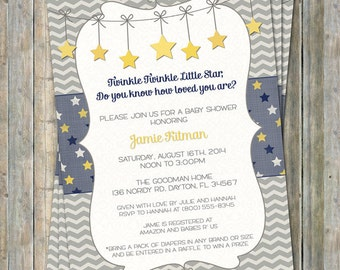 Twinkle, Twinkle Little Star baby shower invite, yellow, blue, gray, do you know how loved you are?, Gender Neutral digital, printable file