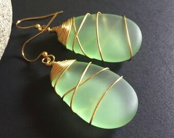 Sea Glass Earrings Handmade Green Sea Glass Jewelry Beach Glass Earrings Wire Wrapped Peridot Sea Glass Gold Wire