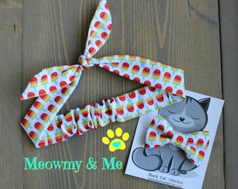 Gift for Pet Moms, Meowmy and Me Matching Bow Tie and Hair Tie, Cat Bowtie, Dog Bow Tie, Headband, Mommy and Me, Mother's Day, Popsicles