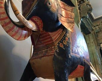 Antique, Aluminum, Hand-Painted Elephant