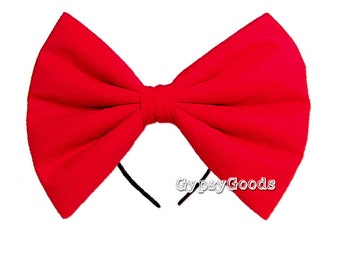 PRIORITY Mail (US) LG or Medium Flannel Hairbow (Headband) Adult for cosplay or costume bow in Red, Black, White, Pink, Purple or Yellow