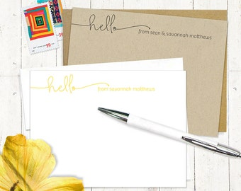 personalized note card set - HELLO HANDWRITING - set of 12 flat note cards - fun note cards - stationery - stationary