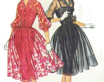 1950s Womens Rockabilly Dress with Slim Slip McCalls Sewing Pattern 5176 Size 18 Bust 38 UnCut Vintage 1950s Sewing Patterns
