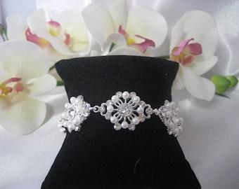 Rhinestone faux Pearl Silver tone Bracelet, Bridal, Prom Wedding