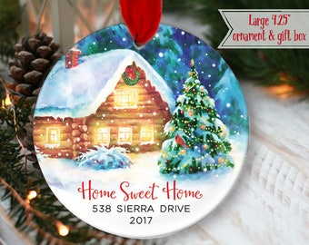 """LARGE 4.25"""" Our First Home ornament Personalized New House Gift Home Sweet Home Winter Cabin, Housewarming Gift, Realtor Gift OR981"""