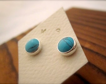Turquoise Stud Earrings with Sterling and Fine Silver - 6mm