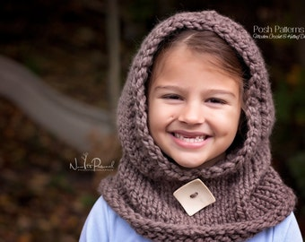Knitting Pattern - Knit Hooded Cowl - Hooded Cowl Knitting Pattern - Cowl Hood - Hooded Scarf - Baby, Toddler, Child, Adult Sizes - PDF 386