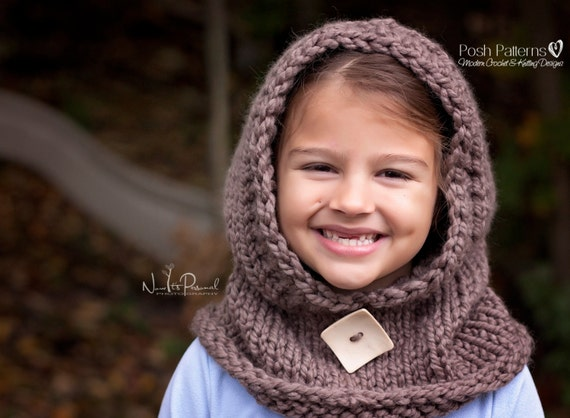 Knitting Patterns - Knit Hooded Cowl - Hooded Scarf - Knit Hooded ...