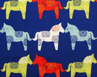 Patchwork Quilting Fabric Michael Miller Wooden Horses Blue
