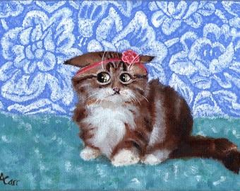 Sad kitten acrylic painting on canvas panel