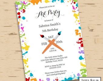 Printable Art Party Birthday Invitation 5x7 Invite Diy INSTANT DOWNLOAD You Edit PDF