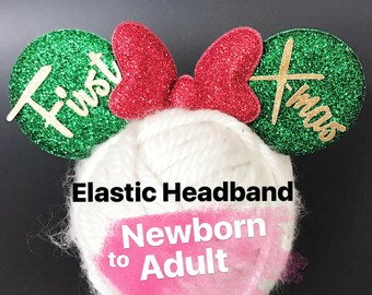 Personalized Minnie Ears,Christmas Minnie Ears,Minnie Ears elastic Headband,Christmas Mickey Ears,Holiday Mickey Ears,Christmas Photo prop