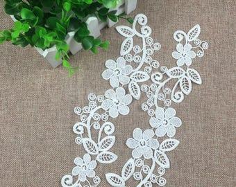 x 1 pair applique lace guipure-fine floral white lace n ° 32